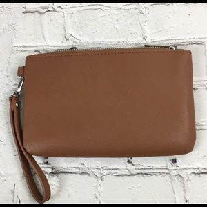 Express Tan Faux Leather Wristlet